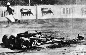 Monza 1970 - La monoposto di Rindt dopo l'incidente